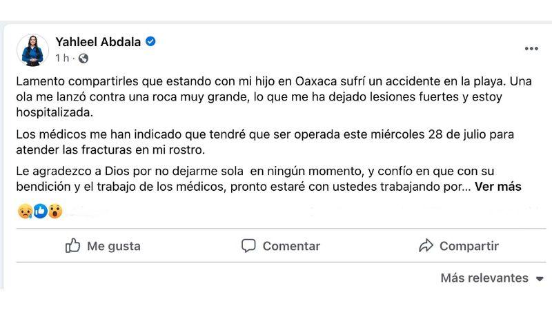 Yahleel Abdala sufre fuerte accidente en playa de Oaxaca