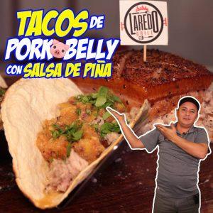 Tacos de Pork Belly con salsa de piña