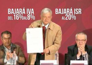 Es oficial, IVA al 8%, ISR al 20% y gasolina homologada; AMLO