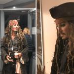 """Johnny Depp se viste como """"Jack Sparrow"""" y visita a niños con cáncer"""