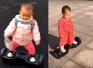 Bebé sorprende con su habilidad para usar un patín eléctrico