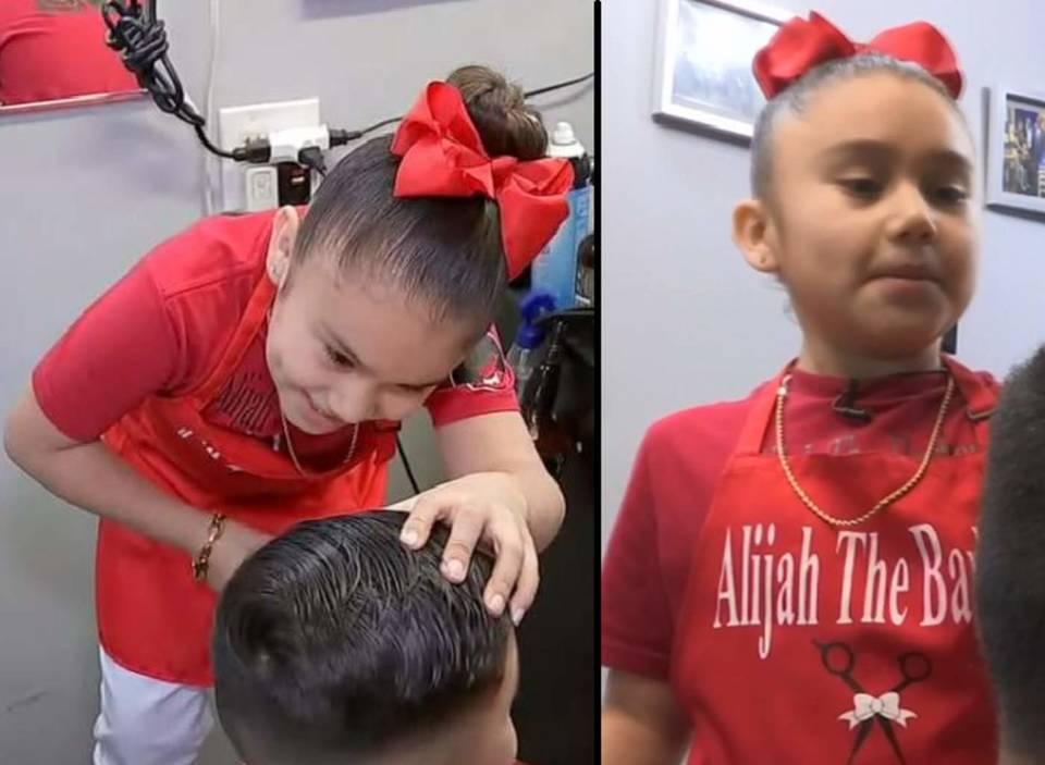 Sorprende niña 7 de años que trabaja como peluquera