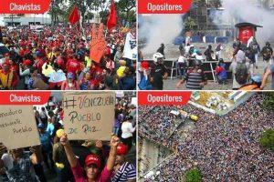Marchan a favor y en contra de Maduro