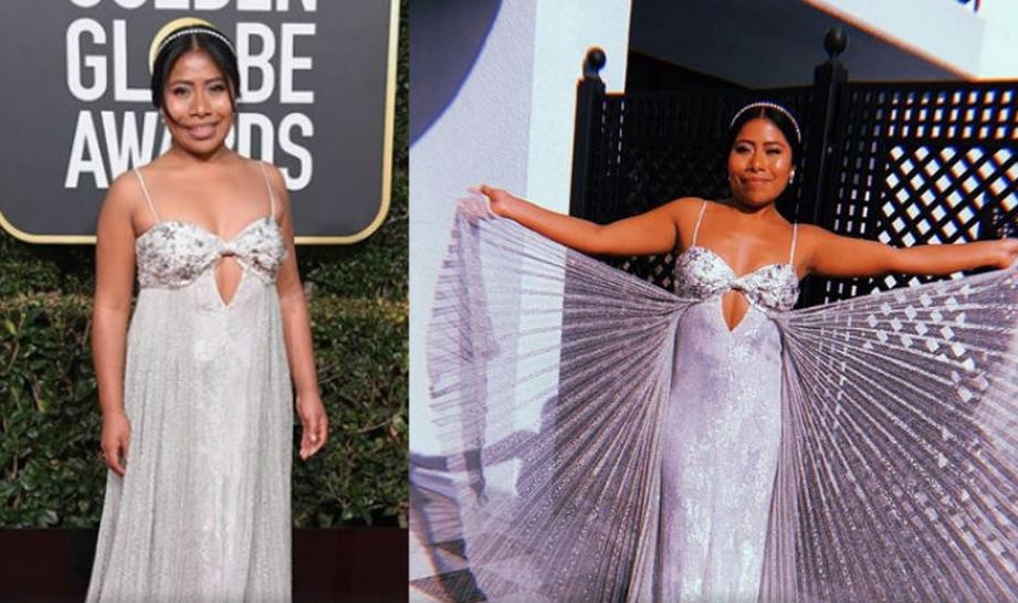 El vestido de Yalitza Aparicio en los Globos de Oro: ¿lo amas o lo odias?
