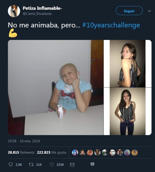 Camila mantiene viva la esperanza con el #10YearChallenge