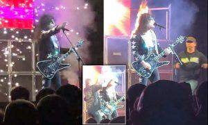 Se incendia el cabello de cantante de rock en un concierto