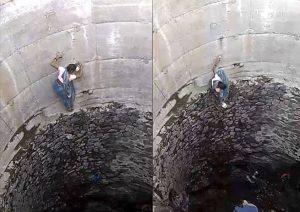 Mujer escala 20 metros para conseguir agua durante sequía