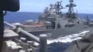 Barcos de guerra de EU y Rusia casi colisionan