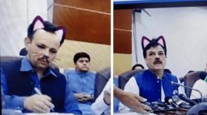 Olvidan quitarle el filtro de gato a ministro y aparece en Live con orejitas