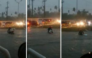 VIDEO: Ciudadanos de Reynosa salvan a motociclista de ahogarse