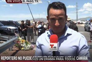 Reportero rompe en llanto al transmitir en el lugar del tiroteo en El Paso