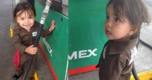 Niña 'Gasolinera' ayuda a su mamá en Guadalajara