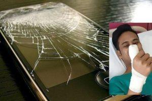 Joven estuvo a punto de perder el dedo por usar su celular con la pantalla rota