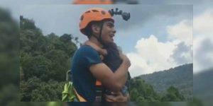 VIDEO: Hombre se lanza del bungee con su hija en brazos