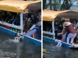 VIDEO: Rescatan a mujer que cae de trajinera en Xochimilco