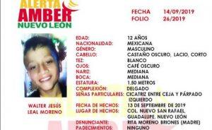 Alerta Amber: Se extravía menor en Nuevo León