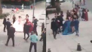 VIDEO: Se agarran a golpes chambelanes de distintas quinceañeras