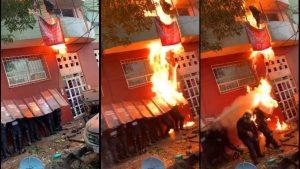 Desalojados queman a policías y lanzan agua hirviendo
