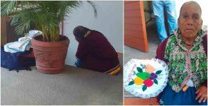 Ayudan a artesana a vender sus servilletas bordadas en redes sociales