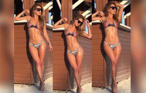 Geraldine Bazán, feliz en bikini entre dos hombres musculosos