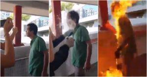 VIDEO: Sujeto le prende fuego a un hombre por discutir con manifestantes en Hong Kong