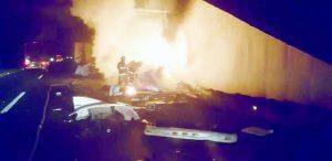 Muere chofer calcinado en vía Laredo-Monterrey
