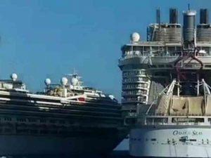 Cruceros chocan en Cozumel por mal tiempo