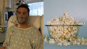 Hombre casi muere por una palomita de maíz atorada en los dientes