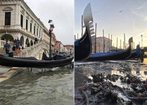 Venecia pasó de inundada a 'sin agua'