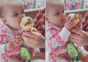 Inesperada reacción de un bebé al probar el helado por primera vez