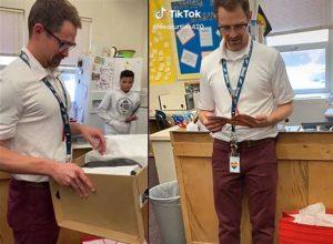 Estudiantes regalan a su profesor unos tenis para reemplazar los que le robaron