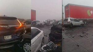 Muere mujer tras carambola en carretera Saltillo-Monterrey