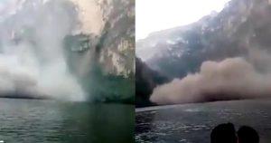 VIDEO: Se derrumba pared del Cañón del Sumidero ante grupo de turistas