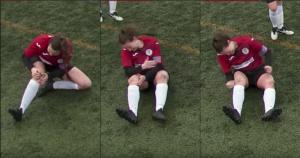 Jugadora se disloca la rodilla y la acomoda... ¡a golpes! (VIDEO)