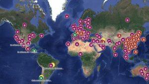 Mapa en tiempo real de los reportes de coronavirus en el mundo