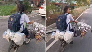 Estudiante recicla basura todos los días mientras regresa a casa y se vuelve viral