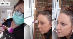 Maquillista atiende a sus clientas por una rendija de su puerta ante Covid-19