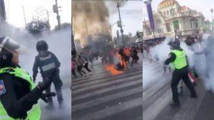 Captan mujer en llamas durante marcha feminista en CDMX (Video)