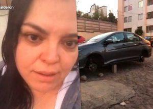Le roban  a mujer con discapacidad, las llantas de su auto