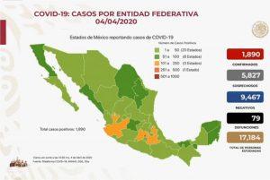 Coronavirus México: confirman 1890 casos positivos hoy sábado 4 de abril