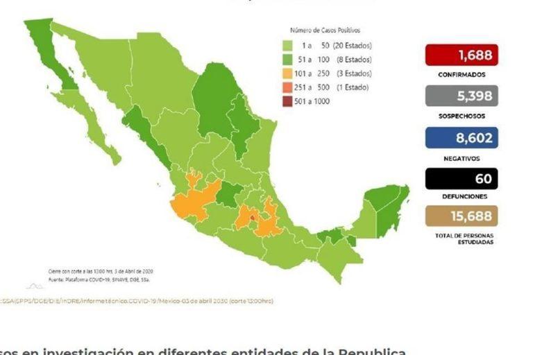 Mapa de México con los casos confirmados, negativos y sospechosos a COVID-19 hasta este viernes 3 de abril. Foto: Especial