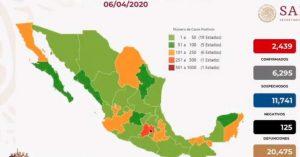 Coronavirus México: confirman 2,439 casos positivos hoy lunes 6 de abril