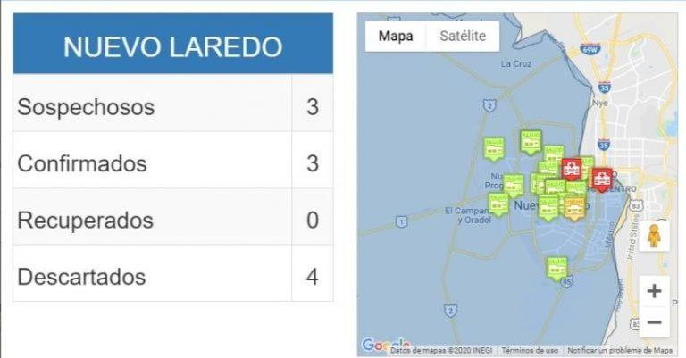 Mapa de casos confirmados de Covid-19 en Nuevo Laredo. Foto: http://coronavirus.tamaulipas.gob.mx/