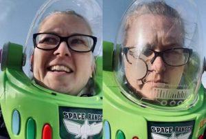 Madre utiliza un casco de Buzz Lightyear como protección al salir de casa VIDEO