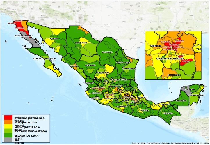 Este es el mapa de robo de autos en México