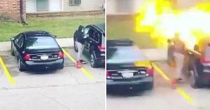 Mujer descubre infidelidad de su novio; incendia su carro en venganza (VIDEO)