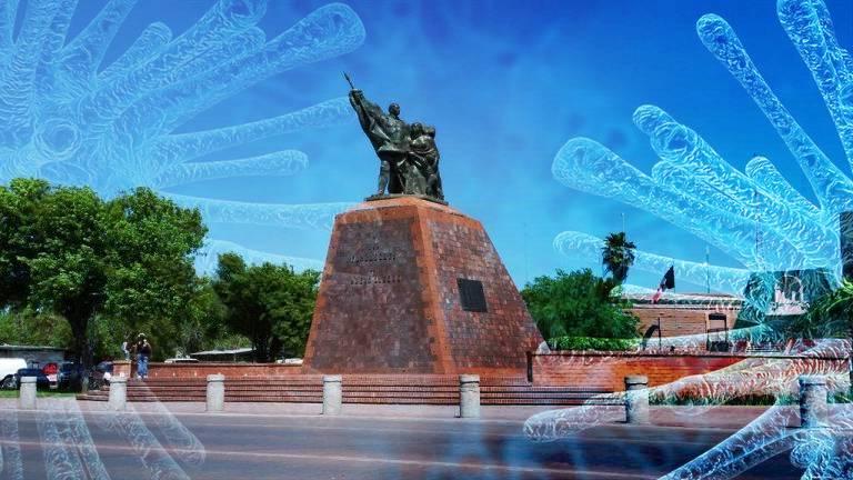 collage monumento Fundadores de nuevo Laredo y covid-19