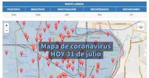 Colonias de Nuevo Laredo con más contagios de covid-19 hoy 4 de agosto