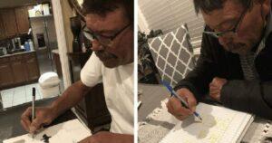 Abuelito aprender a leer y escribir durante pandemia de covid-19