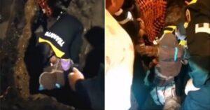 VIDEO: Rescatan a mujer ciega que cayó en una zanja